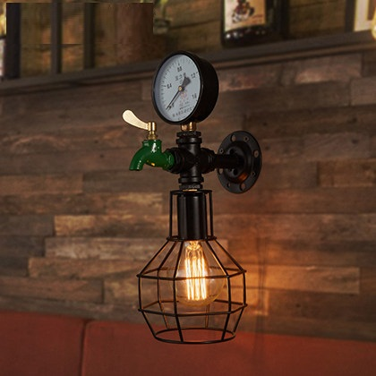 Loft Style Iron Cage Water Pipe Lamp Edison Wall Sconce RH Industrial Vintage Wall Light Fixtures For Home Indoor Lighting loft style iron edison wall sconce industrial lamp wheels vintage wall light fixtures antique indoor lighting lampara pared