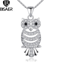 BAMOER Retro Owl Pendant Necklace With AAA Austrian Zircon 18K White Gold Plated Autumn Collection Jewelry