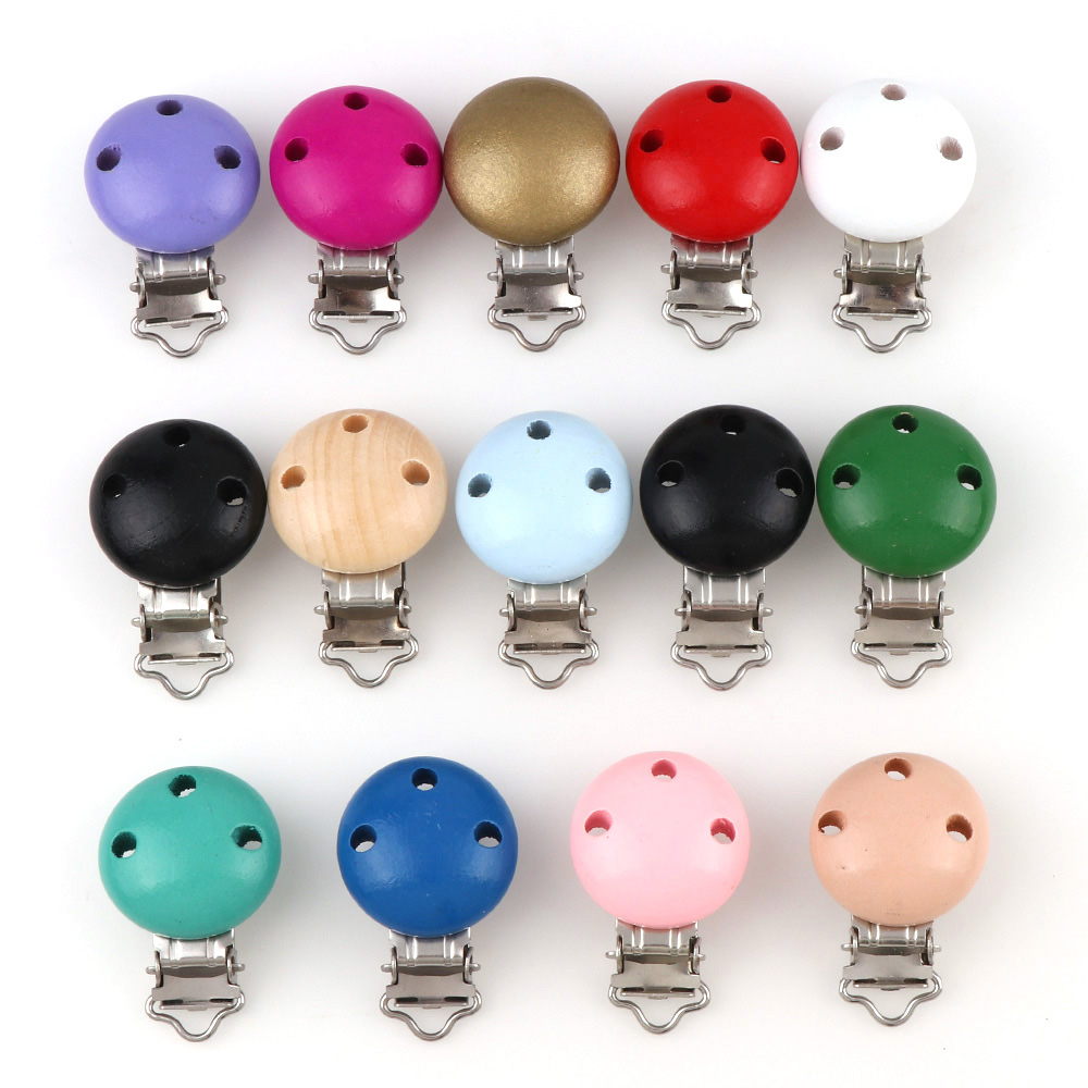 5pcs/lot Metal Wooden Baby Children Pacifier Holder Clip Holders Cute Infant  Round Nipple Clasps Holders Accessories 14 Colors