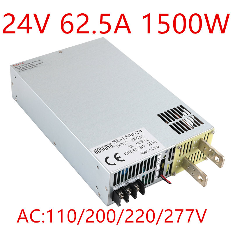 цена на SE-1500-24 0-5V analog signal control 0-24v adjustable power supply 24V 62A power supply 1500W 24V power supply ac to dc 24V