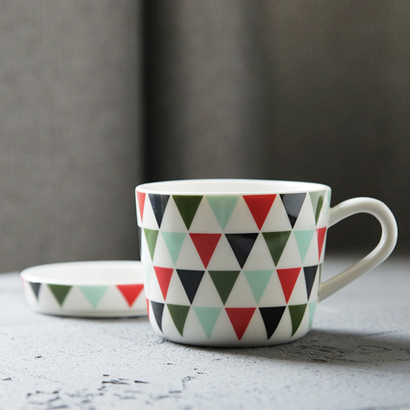 Geometric Design Triangles Ceramic Mug with Saucer Porcelain Cup for Water Coffee Tea and Milk(220ml Cup Saucer)