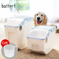 Plastic Pet Dog Feeder Storage Food Container Mildew Anti oxidation Large Capacity Storage Fresh Box Food Container Dog Bucket