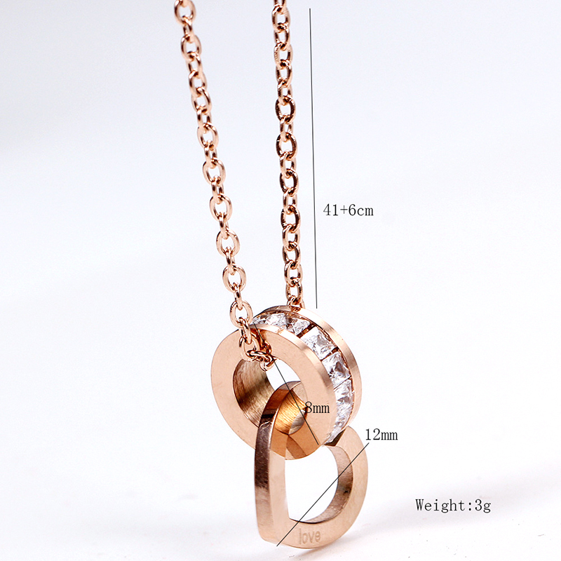Heart Charm Necklace Stainless Steel Women 39 s Love Necklace with Cubic Zircon Rose Gold Collier Femme Jewelry 2019 in Pendant Necklaces from Jewelry amp Accessories