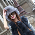 Russia Hot Item Fashion Winter Raccoon&Fox Fur Hat With Ear Flaps For Women Thick and warm Winter Cap MZ82