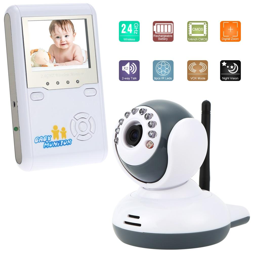 bilder für 2,4 inch Farbe Video Wireless Baby Monitor Plug & 2-wege-gespräch Nachtsicht Digital-Zoom Baby Home Security 2,4 GHz