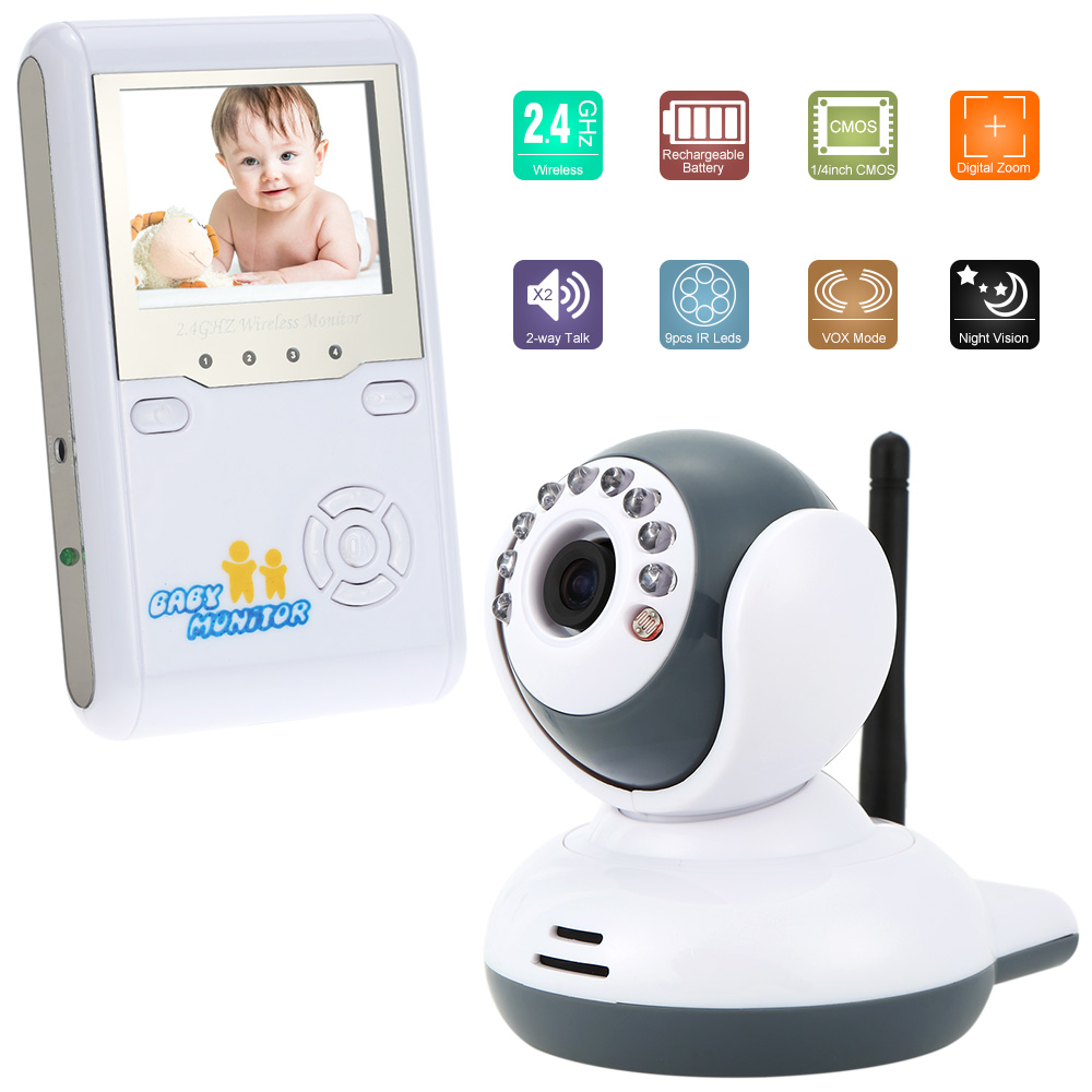 color video wireless baby monitor plug and play 2 way talk night visi. Black Bedroom Furniture Sets. Home Design Ideas