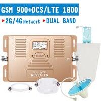 Walokcon 4G LTE sinyal tekrarlayıcı GSM 900 DCS/LTE 1800 mobil sinyal güçlendirici Band 3 GSM çift bant amplifikatör 70dB kazanç LCD ekran