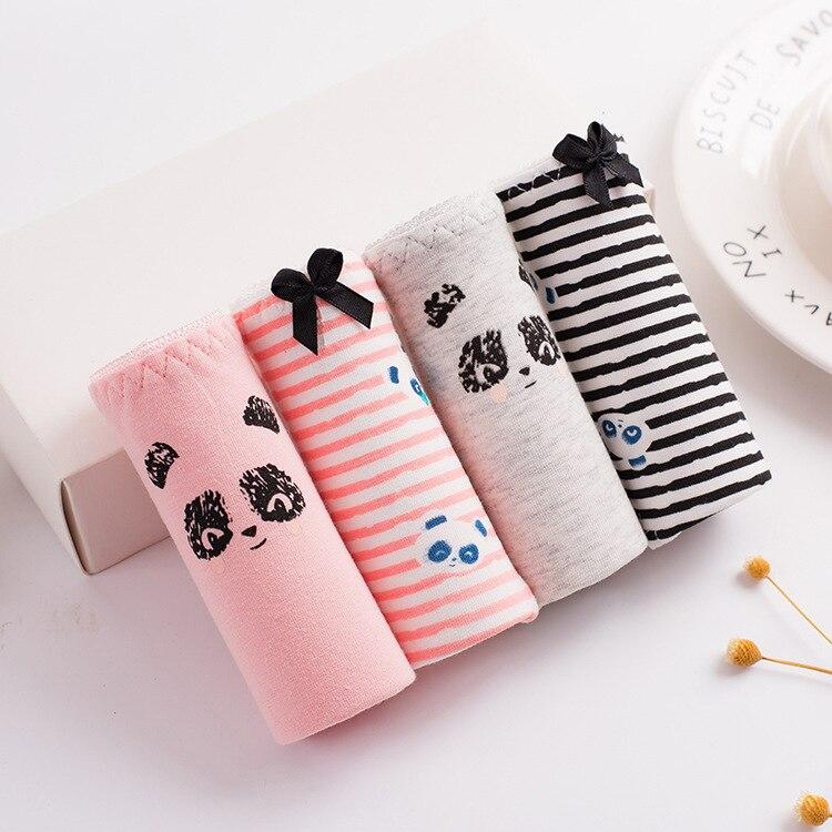 2018 Fashion Women Underwear Panda Pattern Cartoon Printing Cotton Briefs Low Waist Bowknot Cute Stripe Solid Girl Panties L XL