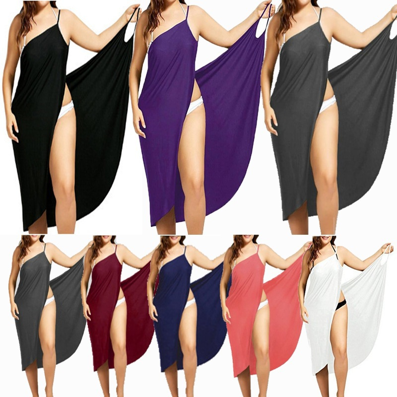 Women Beach Dress Sexy Sling Becah Wear Dress Sarong Bilini Cover Up Warp Pareo Dresses Towel Backless  Swimwear Femme Plus Size