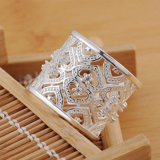 Fabbrica all'ingrosso nuovo argento placcato donne hot nizza regalo rotonda aperta hollow Anelli di cristallo dei monili R106