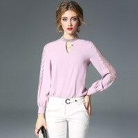 Сплошные кружевные лоскутные свободные Пуловеры Блузка 2018 новые женские осенние шифоновые рубашки