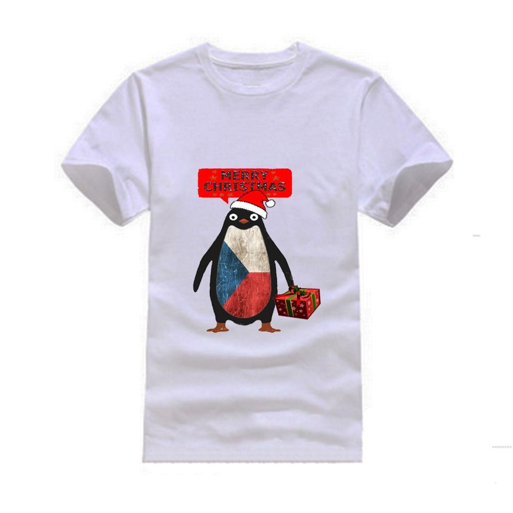 Gresanhevic Mens Czech Republic Penguin say Merry Christmas T-shirts Short Sleeve Man Cl ...