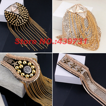 New 2016 gold silver plated tassel Steampunk big fringed metal shoulder epaulette brooch/pentagon rivets epaulets/spikes/badge