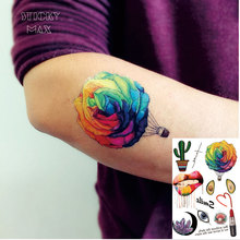 W11 1 Piece Colorful Rose Hot-Air Balloon Temporary Tattoo With Big Lip, Crystal, Lipstick,Avocado And Cactus PatternTattoos
