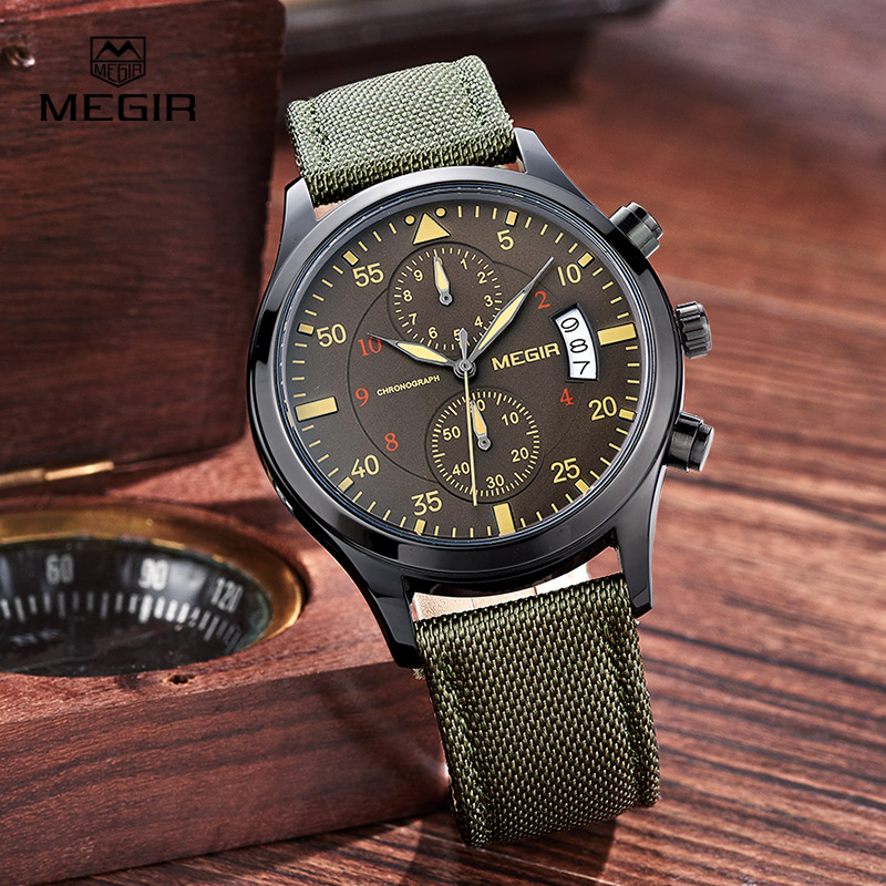 MEGIR casual waterproof stop watch for male fashion canvas quartz watches men calendar wrist watch man free shipping 2021 megir fashion casual stop watches for men luminous running brand watch for man leather quartz watch male 2007 free shipping