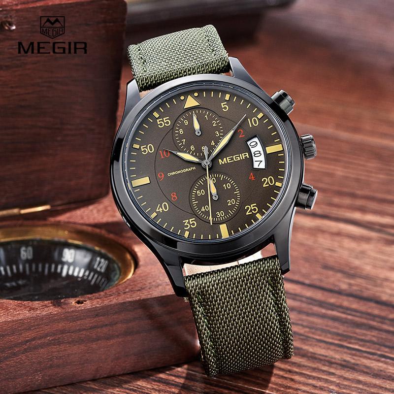 Prix pour Megir casual étanche chronomètre pour hommes 2015 toile de mode quartz montres hommes calendrier montre-bracelet homme livraison gratuite 2021