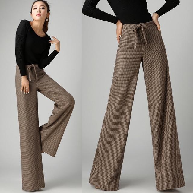 d99675692f168 2016 Nueva Otoño Invierno Moda Formales Para Mujer pantalones Anchos de La  Pierna de Lana Pantalones