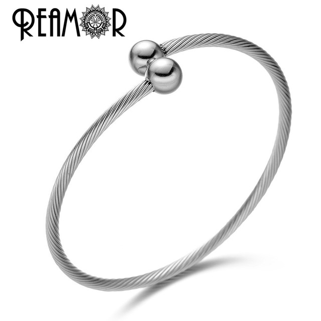 df3472a5e2d REAMOR Classic 316l Stainless Steel Round Bangles Stripe Cuff Open  Adjustable Charms Bangle & Bracelet Jewelry Unisex