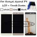Preto/dourado/branco 100% testes para huawei p9 eva-l09 eva-l19 eva-al00 display lcd + touch screen digitador assembléia + ferramentas gratuitas