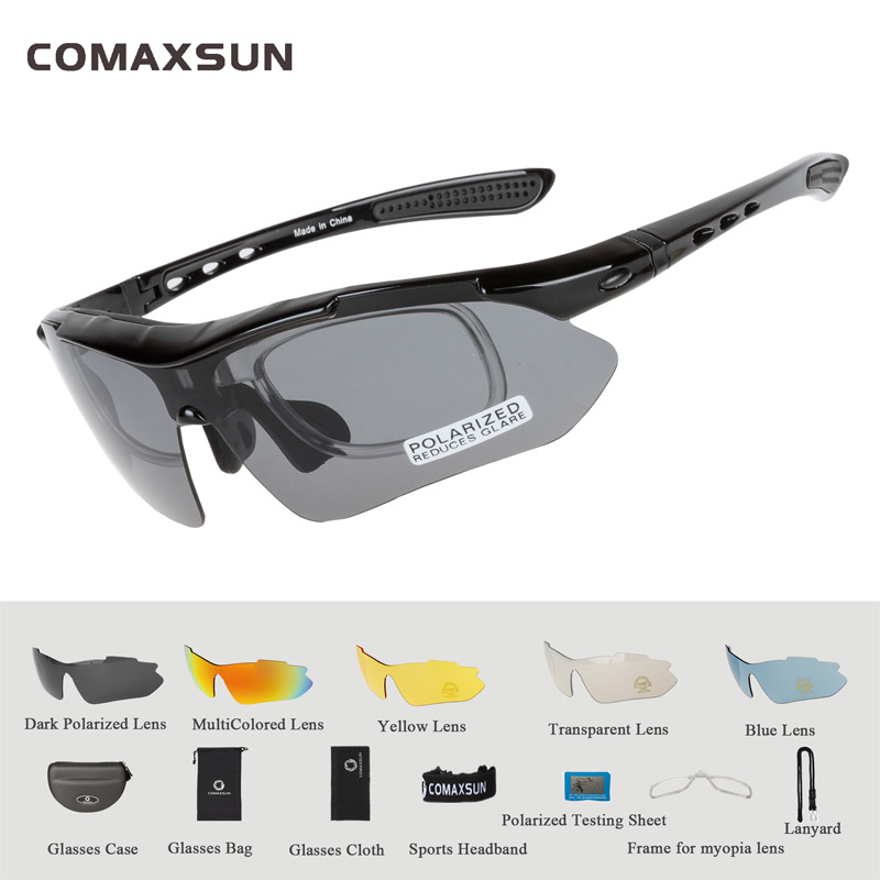 COMAXSUN Professional Polarized Cycling Glasses Bike Goggles Outdoor Sports Bicycle Sunglasses UV 400 With 5 Lens TR90 2 Style 9