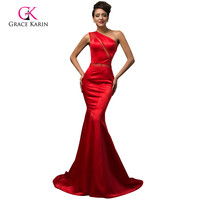 Sexy One Shoulder Long Red Mermaid Prom Dresses 2015 For Special Occasion Dresses Padded Vestidos De