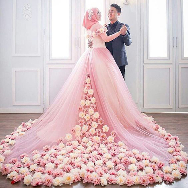Vestido De Noiva De Renda Rosa Floral Hijab Boda 2017 Musulmanes ...