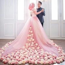 Vestido De Noiva De Renda Rose Floral Hijab Wedding Dresses 2017 Muslim Bridal Gowns Full Long Sleeves High Neck Ball Gowns