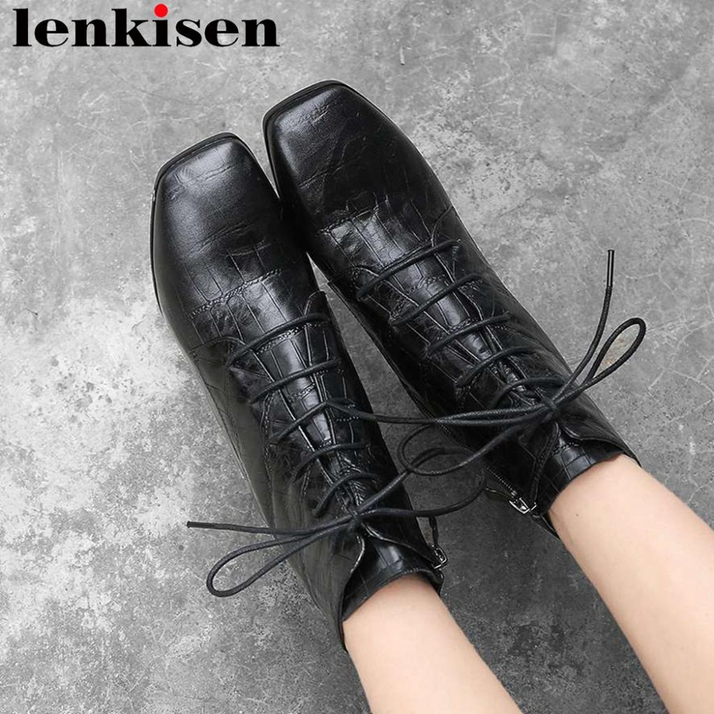 High quality vintage classic square toe thick high heels solid natural leather large size zipper solid dress ankle boots L06High quality vintage classic square toe thick high heels solid natural leather large size zipper solid dress ankle boots L06