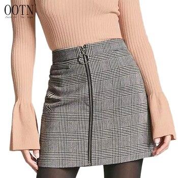 OOTN Pencil Plaid Short Bodycon Skirt