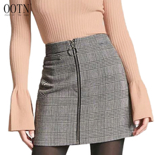 ФОТО OOTN Sexy Black White Plaid Skirts Women Short Pencil Skirt Zipper In Front Female 2018 Summer Mini Skirt Bodycon Vintage Casual