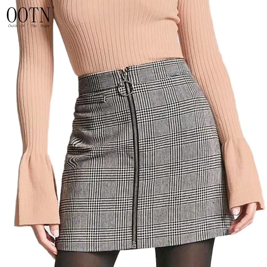 OOTN Sexy Black White Plaid Skirts Women Short Pencil Skirt Zipper In Front Female 2018 Summer Mini Skirt Bodycon Vintage Casual