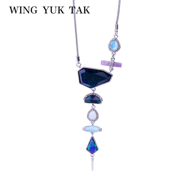 wing yuk tak Unique Geometric Statement Necklaces Fashion Vintage Irregular Stone Long Necklace Pendant For Women Brand Jewelry