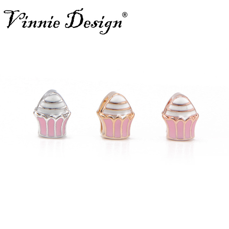 Vinnie Design Jewelry 8mm Ice Cream Slide Charms fit on Wrap Bracelets Wristband Belts for Women and Children 10pcs/lot