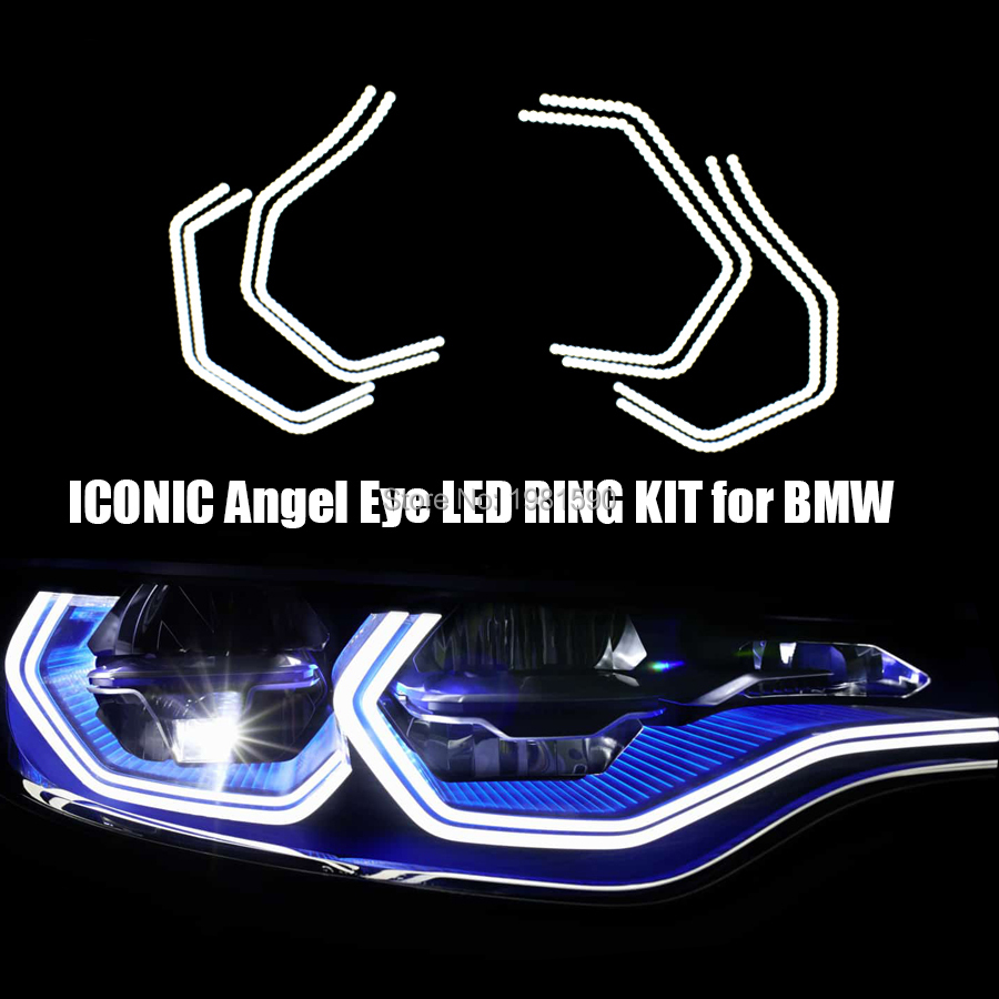 4x Cool White SMD LED Angel eyes for BMW 3 Series F30 F32 335i M3 M5 E90 M4 E90 E92 Car styling SMD Halo ring headlight kits car front rear logo decoration cover ring trim hood emblem ring for 2013 2016 bmw 3 series 320li 328li 316 bmw 4 series m3 m4