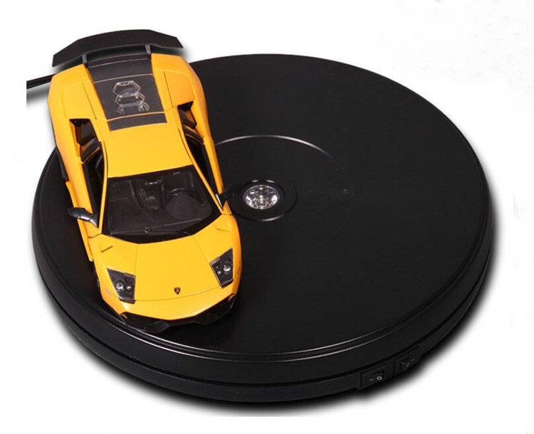 250X60MM Electric Turntable Display Stand With LED Light For Counter Showcase 45 Secs Per Circle Holding 15KGS 3 speed change remote and manual control 60 90 120 secs circle 60x10cm electric turntable display stand rotary model show