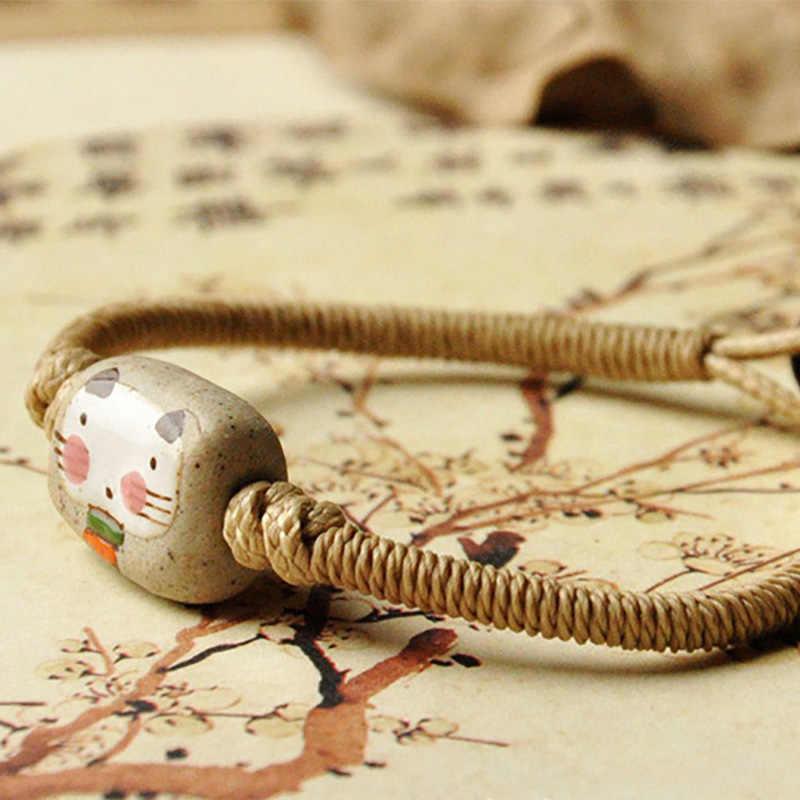 Милые Браслеты с котом, керамические бусины, плетеная веревка, цепочка, браслеты-манжеты, очаровательные браслеты для женщин и мужчин, этнические ювелирные изделия, модные аксессуары