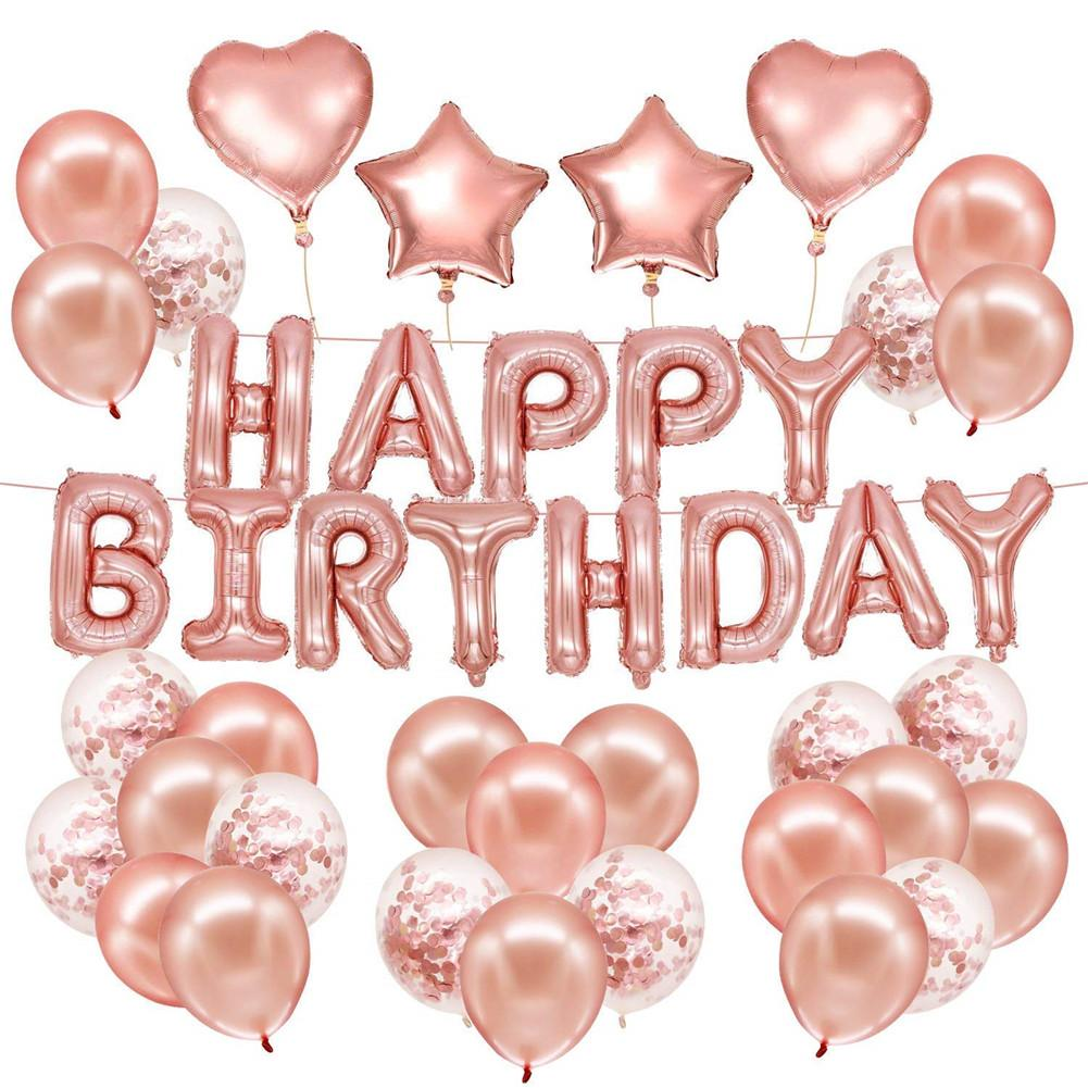 Rose Gold Birthday Balloon Set Party Decoration Letter