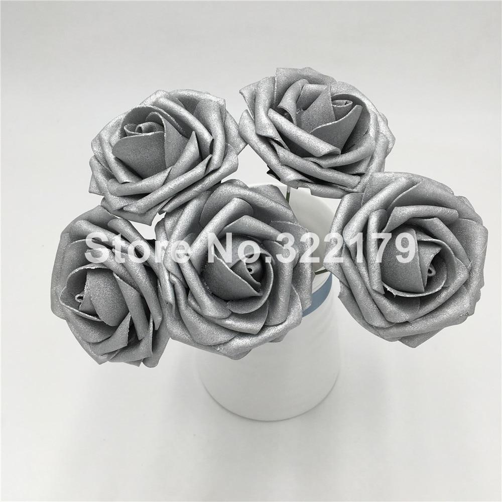Aliexpress Buy Artificial Flowers Silver Roses Fake Foam