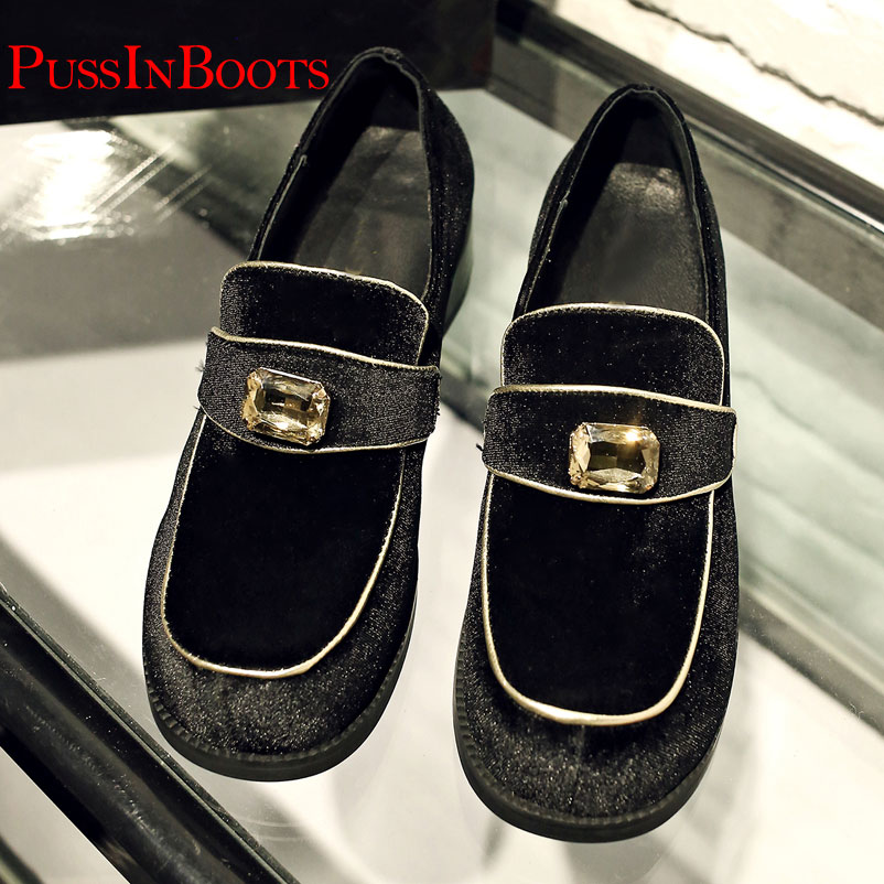 ФОТО US size 10 2016 Spring brand Women Square Toe Famous Velvet Designer Shoes Ladies Rhinestone Flat Shoes For Women brand Famous