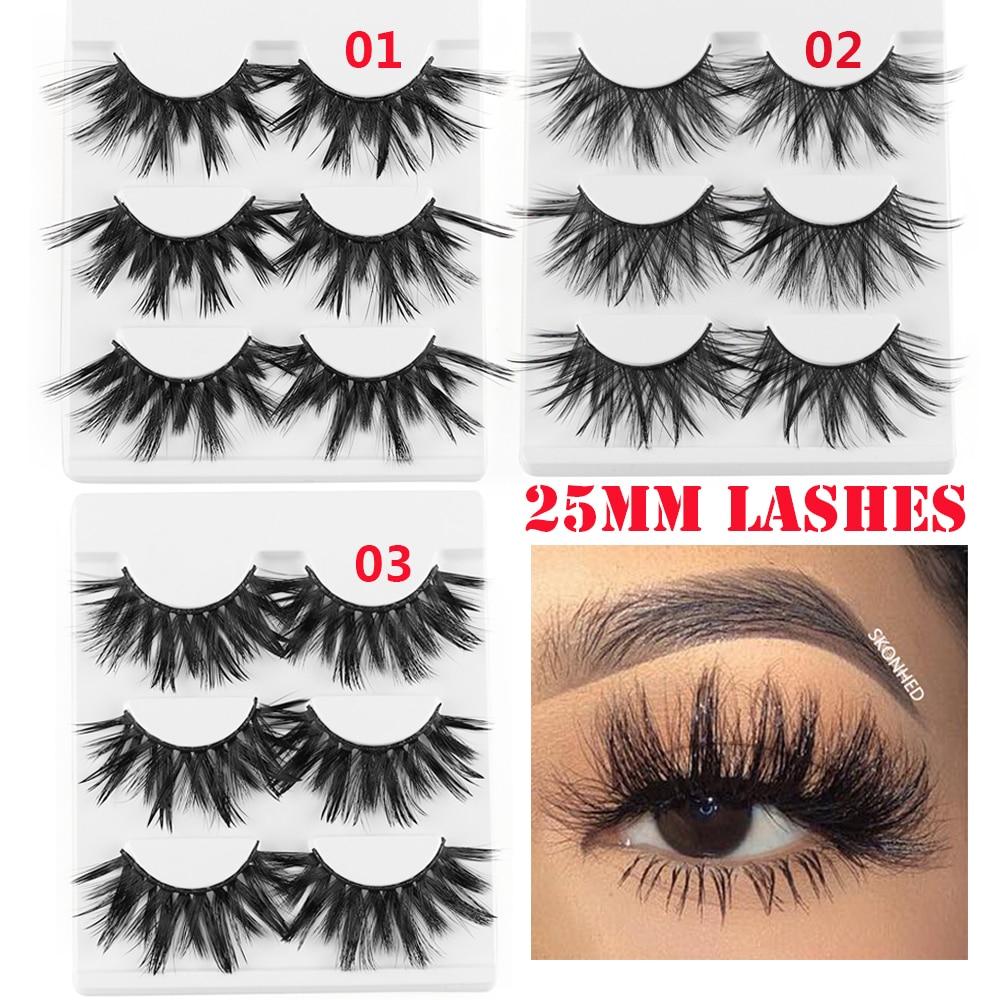 598da851772 25mm Long 3D mink false lashes extra length mink eyelashes dramatic volumn  thick