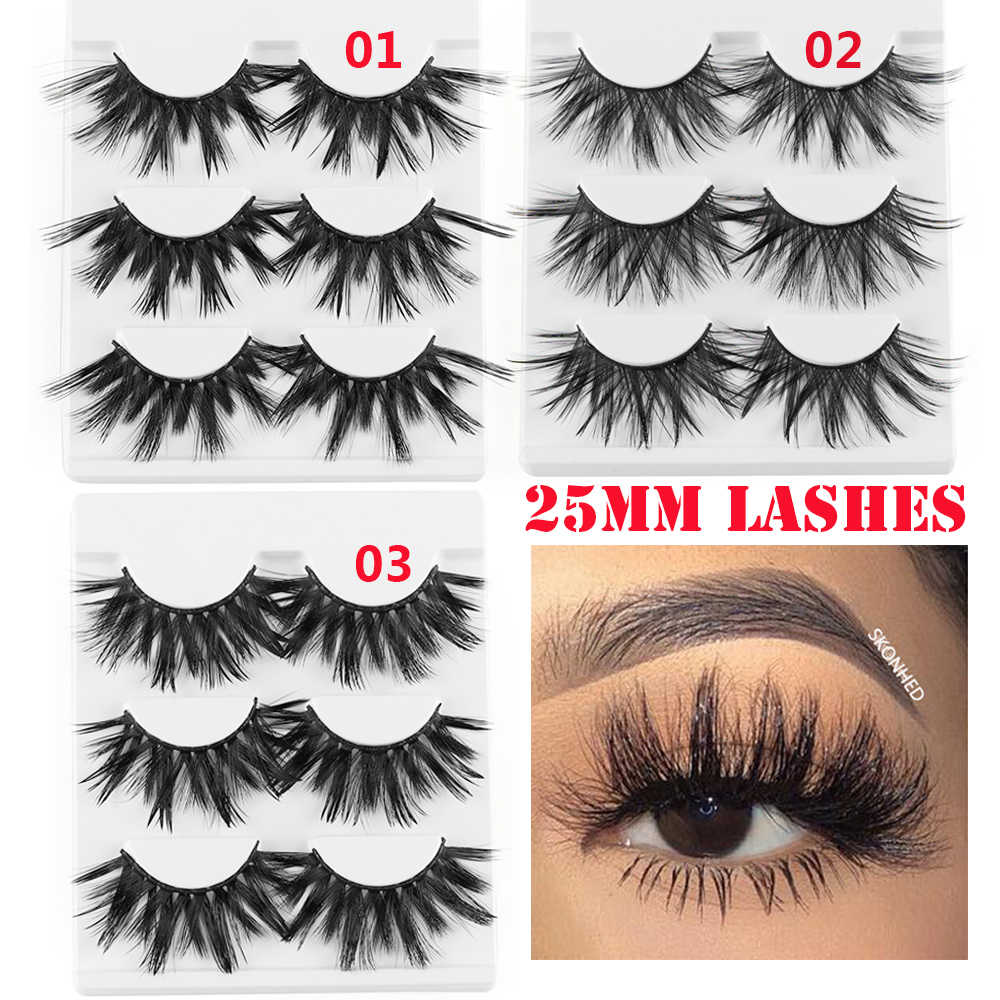 87e2126d52e 3/5 Pairs 25mm Lashes 3D Faux Mink Hair False Eyelashes Thick Long Wispy  Fluffy