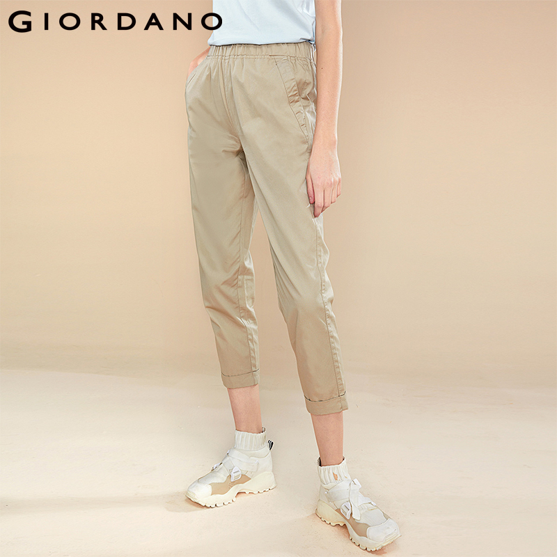 Giordano Women   Pants   Women Elastic Waistband Roll-up Cuffs 100% Cotton Cropped   Pants   Women Casual Fashion   Capri     Pants   Trousers