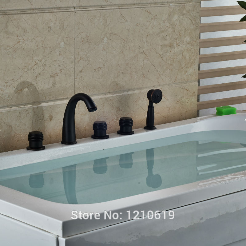 Newly Deck Mounted Bathtub Faucet Set w/ Hand Sprayer Oil Rubbed ...