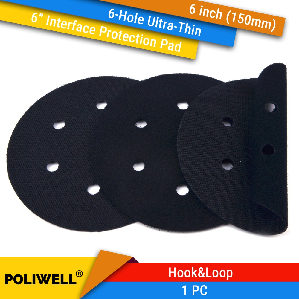 6 Inch(150mm) 6-Hole Ultra-thin Surface Protection Interface Pad For Sanding Pads And Hook&Loop Sanding Discs Thin Flocking Pad