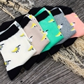 Cartoon birds pattern printing women socks happy socks Harajuku Street Tide WARM cotton socks 5 pairs/lot