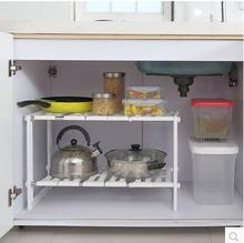 Stainless steel retractable sink rack is placed under the floor of sink, cabinet shelves