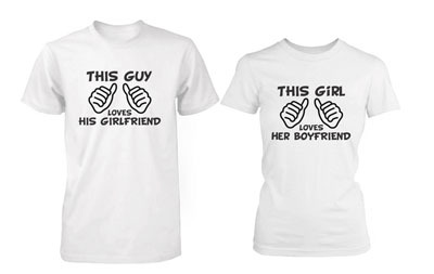 f9ac1995b4 Summer Style Matching Couple Shirts This Guy/Girl Loves His/Her  Boyfriend/Girlfriend White T Shirt Graphic Lovers Tees Plus Size