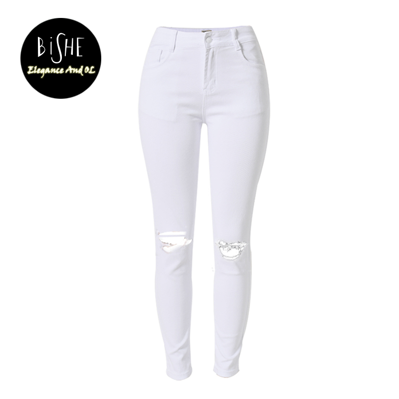 BiSHE Summer White Hole Ripped Jeans Women Jeggings Cool Denim Washed High Waist Pencil Pants Capris Female Skinny Casual Jeans