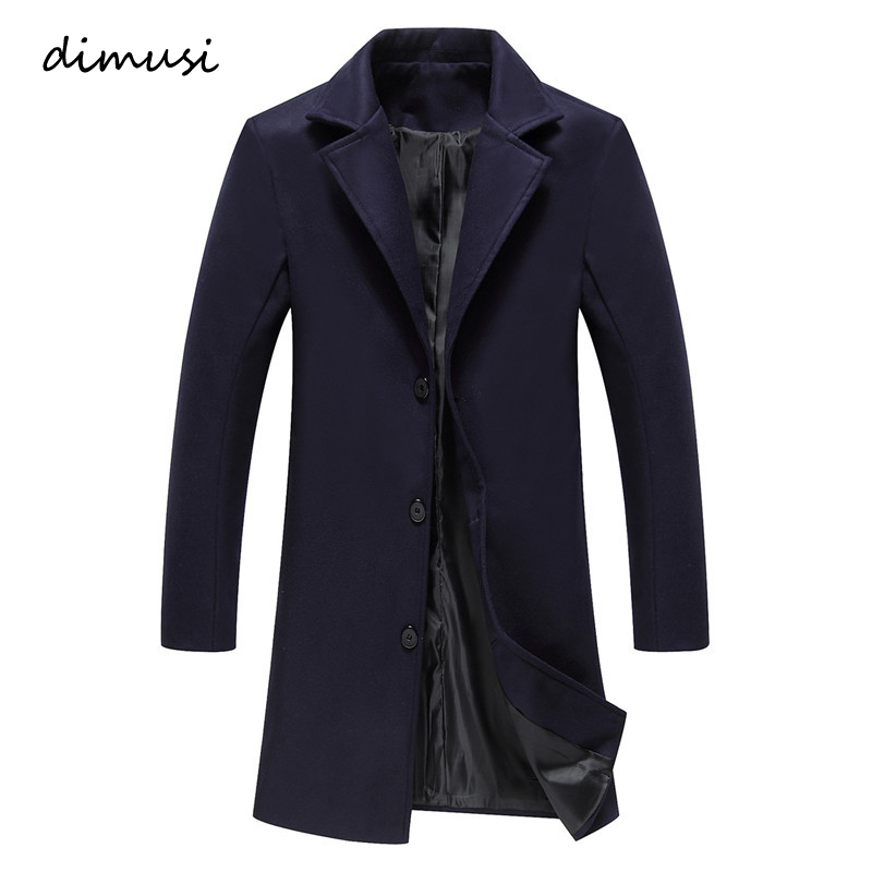 DIMUSI Winter Fashion Men Military Single Breasted Long   Trench   jackets Male Casual Slim Long Woolen Clothes Coats 5XL,TA219