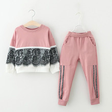 Mayfair Cabin Girls Clothing Sets New Autumn 3-7Y Active Children Cartoon Print Sweatshirts girls clothes + Pants Suit